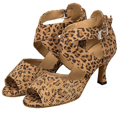 Tda Womens Fashion Klassiska Korset Spänne Mocka Kristall Latin Dansskor Brons