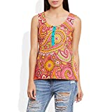 Womens Cotton Printed Short Top Kurti Sleeveless With Contrast Placket And Buttons – Medium