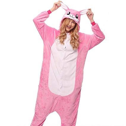 SHANGLY Adulto Pijamas Animales Disfraz Conejo Rosa Linda Cosplay Onesies Ropa De Dormir,S