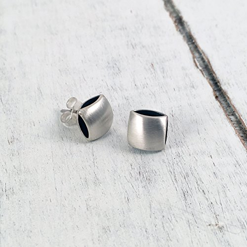 Square Cushion Shape Stud Post Earrings, Sterling Silver 925 Satin finish, Dark Oxidized Interior, Handmade in Peru by Claudia Lira. Great for Sets. -READY TO - Fashion Square Wholesale