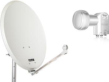 QA60 Antena parabólica de Acero opticum con LNB Quad (60 cm ...