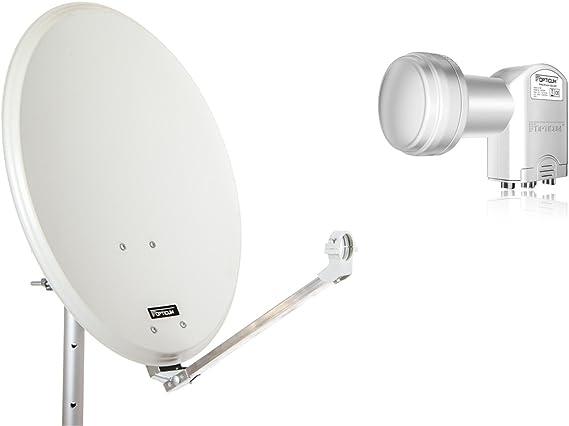 QA60 Antena parabólica de Acero opticum con LNB Quad (60 ...