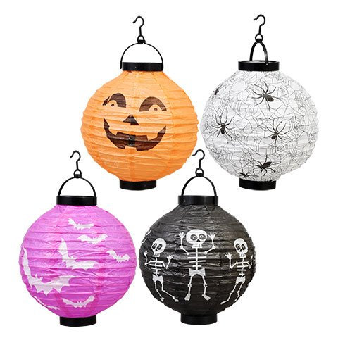 Fall Halloween Decoration Light-Up Paper Lantern Yard Decorations for Parties Orange Black White Purple Jack O Lantern (Pack of Four) (Printable 3d Halloween Decorations)