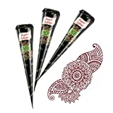 Henna Cones for Temporary Tattoos and Body Art - Pack of 12 Cones - 100% All Natural Herbal Ingredients and Chemical Dye Free Mehndi Cones (No PPD added) - By Kampira