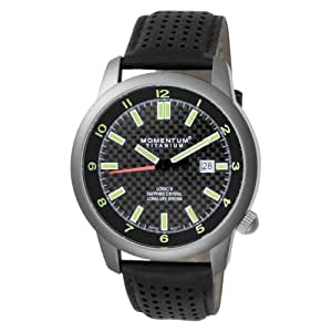 Momentum Men's 1M-SP20B2B Logic TI Black Dial Black Perforated Leather Watch