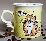 Cat mug funny, 10oz, Handmade ceramic tea cup, Cute birthday gifts for girls, Cat lover gift mug,...