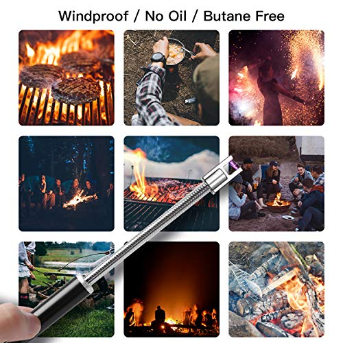 2 Packs Electric Lighter, USB Candle Lighter, Long Grill Arc Rechargeable Lighters Flameless Lighter Click and Burn Pen, Long Flexible Neck Windproof Lighter for Candle Cooking BBQ Fireworks