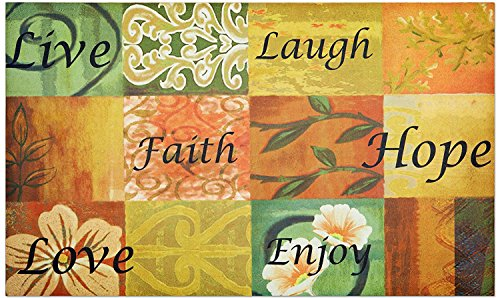 Crystal Emotion Live Love Laugh Faith Hope Enjoy Kitchen Floor Outdoor Garage Rug Entry Way Christmas Home Decor DoorMat