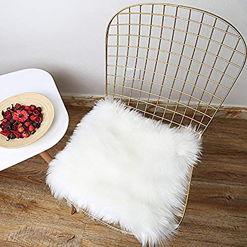 (LOCHAS Deluxe Super Soft Fluffy Shaggy Seat Cushion Faux Sheepskin Silky Rug for Floor Sofa Chair,Chair Cover Seat Pad Couch Pad Area Carpet, 1.5ft x 1.5ft,White)