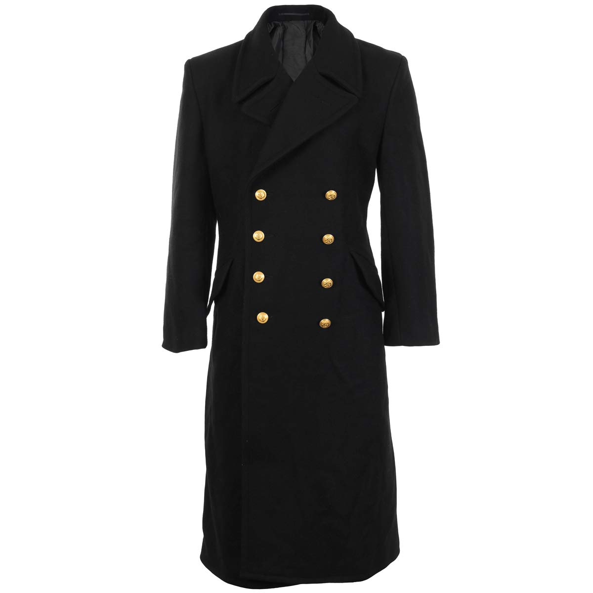 Black Full Length Double Brested Naval Great Coat