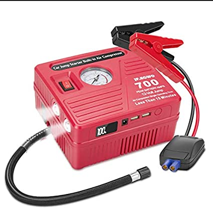jfegwo Car Jump Starter with Air Compressor, 700 Peak 120 PSI 18000 Capacity Li-