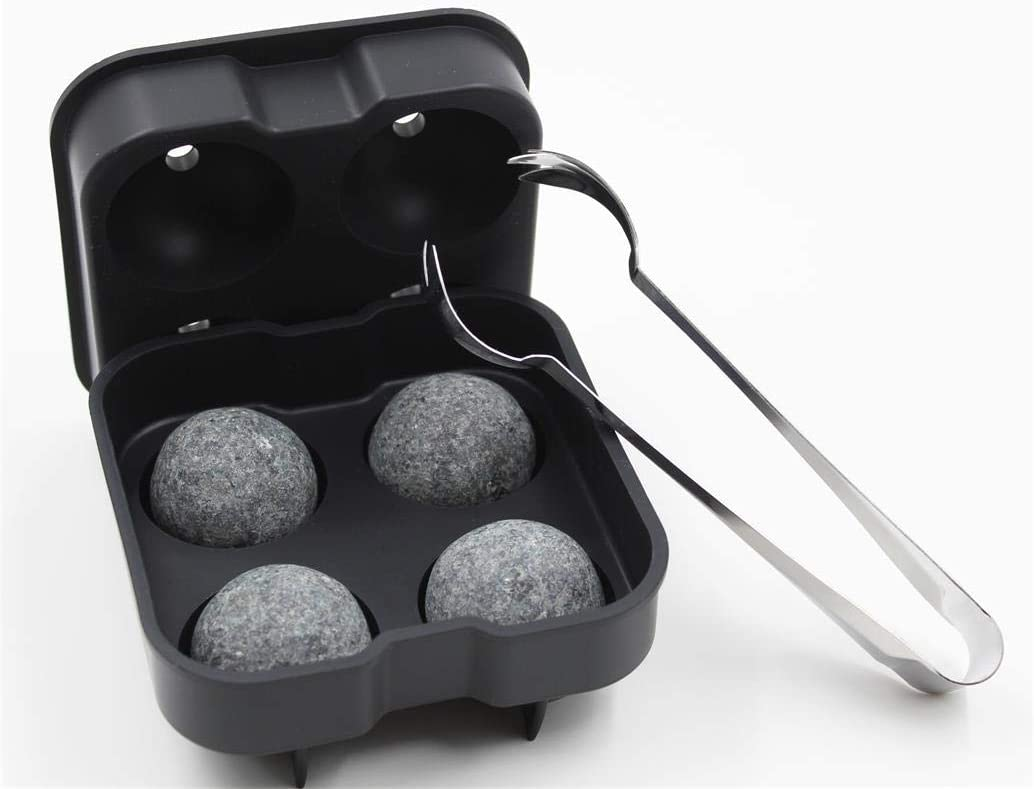Amazon Com Whiskey Stones Set Include 4 Large Sphere Granite Whiskey Rocks Silicone Ice Cube Tray Stainless Steel Tong Large And Reusable Whiskey Stone Could Chill Your Whiskey Beverage Longer
