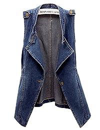 LifeShe Women Fashion Casual Sleeveless Denim Jean Cropped Vest Jacket