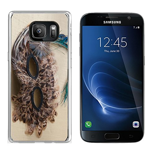 Luxlady Samsung Galaxy S7 Clear case Soft TPU Rubber Silicone IMAGE ID 31625338 feather mask for party halloween (Original Silicone Halloween Mask)