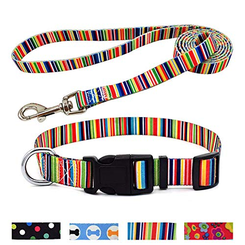 WarmHeaven Cute Dog Collar Leash Set Heavy Duty Nylon Adorable Pet Collar for Medium Puppy Breed Boy Girl Adjustable Neck:12.6-18.9