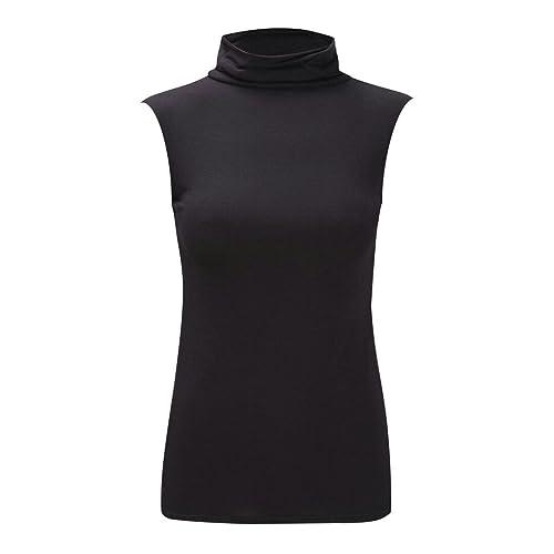 Moda 4Menos Nuevo Mujer Plus Tamaño sin mangas polo cuello chaleco Plain camiseta túnica parte super...