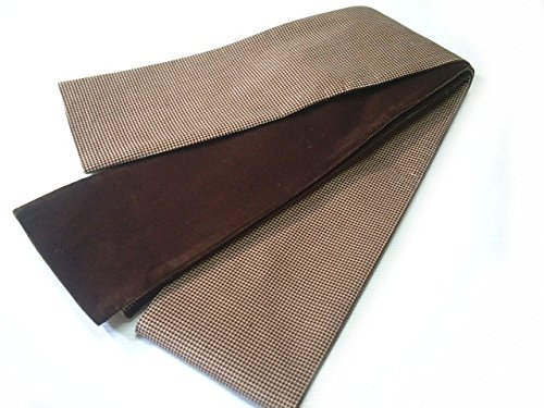 返済日焼けトリップ半幅帯 半巾帯 リバーシブル モカ千鳥模様のベロア細帯 lho006