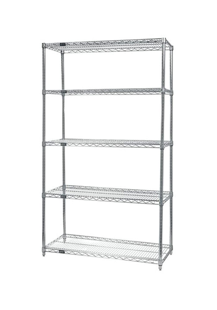 Quantum storage systems Wire Shelving 5 Rack Stainless Steel Shelf Starter Unit 24'' x 48'' x 74''