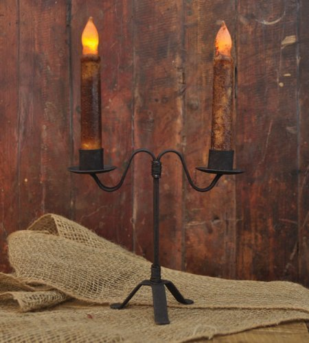 Colonial Double Taper Candle Holder in Black Wrought (Black Taper Candle Holder)