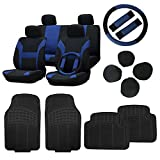 89 s10 blazer seats - CCIYU Black/Blue Car Seat Cover W/Belt Pads/Steering Wheel Cover Full Set Black Floor Mats Breathable fit Heavy Duty Van Trucks