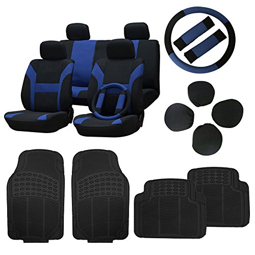 CCIYU Black/Blue Car Seat Cover W/Belt Pads/Steering Wheel Cover Full Set Black Floor Mats Breathable fit Heavy Duty Van Trucks Chevrolet S10 Car Cover