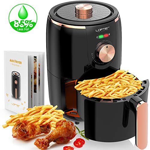 Compact Air Fryer, LOFTER 1.6L Electric Hot Air Fryers with Temperature Control, Fast Cook Oven Oilless Cooker with Timer Knob, Non Stick Fry Basket, Dishwasher Safe, Auto Shut off Feature, w/Recipe Guide, 1000W