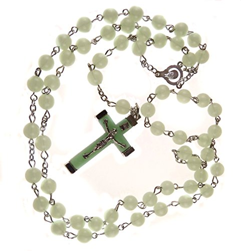 Green Lucite Bead Necklace - DivinejewelsbyBarb Catholic Rosary Glow in The Dark Light Green Lucite Detailed Crucifix