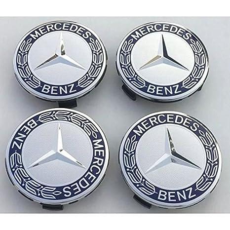 4 x tapones Tapacubos Logo Mercedes Benz de 75 mm para tachuelas Círculos Aleación - Clase A B C y CLA CLK: Amazon.es: Coche y moto
