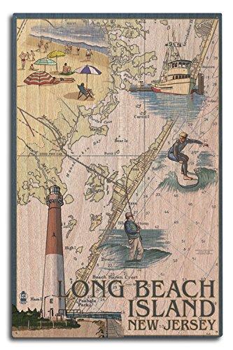 Lantern Press Long Beach Island, New Jersey - Nautical Chart (10x15 Wood Wall Sign, Wall Decor Ready to Hang) ()