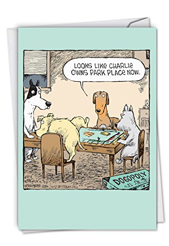 Dogopoly - Hilarious Happy Birthday Greeting Card with Envelope (4.63 x 6.75 Inch) - Funny Animated Dog Games, Bday Congrats Note Card - Animal Lovers Cartoon Stationery Notecard C3986BDG ()