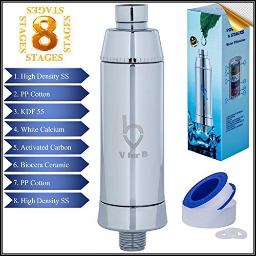 Universal 8-Stage Shower Filter - High Output Multistage Filtration, Removes Chlorine, Fluoride, Heavy Metals, Eliminate Unpleasant Odors, Hard Water Softener - Boosts Skin and Hair Health, by V for B