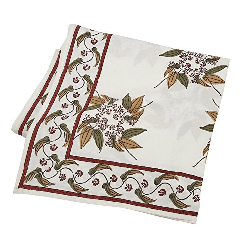 Ten Thousand Villages White and Olive Rectangular Blockprinted Cotton Table Cloth 'Fairy Circle -