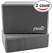 "Fledo Yoga Blocks (Set of 2) 9""x6""x4"" - Eco-friendly EVA Foam Brick, Featherweight and Comfy - Provides Stability and Balance - Ideal for Exercise, Pilates, Workout, Fitness & Gym"