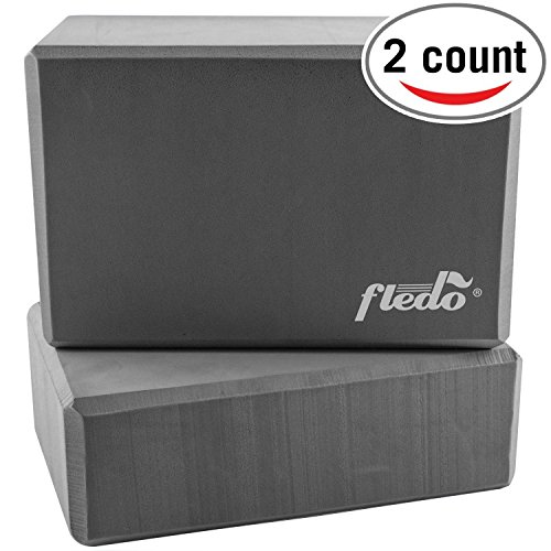 Fledo Yoga Blocks (Set of 2) 9'x6'x4' - Eco-friendly EVA Foam Brick, Featherweight and Comfy - Provides Stability and Balance - Ideal for Exercise, Pilates, Workout, Fitness & Gym (Grey)
