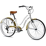 "26"" KCP BEACH CRUISER COMFORT BIKE Ladies ALOHA 2.0 6S SHIMANO white (w) RETRO LOOK - (26 Zoll)"