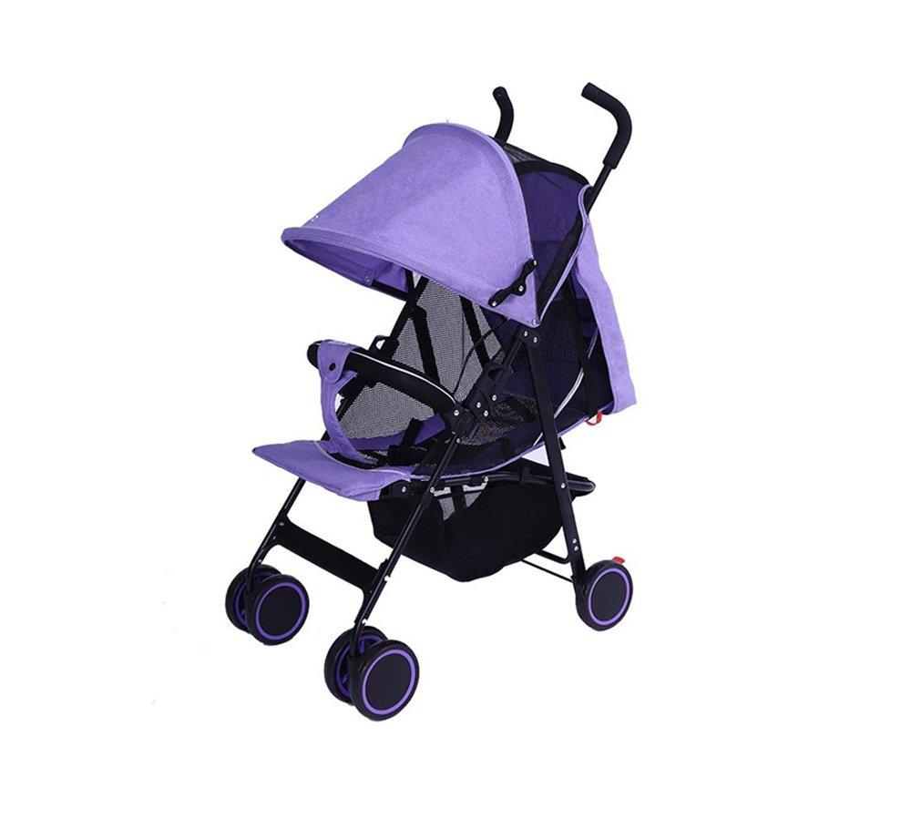 XnZLXS-Cochecitos Carretilla portátil para bebés, para niños, Ligera, Plegable, Cuatro Estaciones, Paraguas, carros, 1-3 años, para vehículos con Cuatro Ruedas (púrpura)