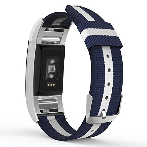 MoKo Fitbit Charge 2 Band, Fine Woven Nylon Adjustable Replacement Strap + Connector for 2016 Fitbit Charge 2 Heart Rate + Fitness Wristband, Wrist Length 5.39-8.66, Blue & White