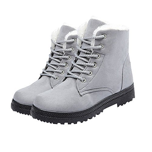 NOT100 Womens Snow Boots For Winter Ankle Boots Combat Walking Shoes Booties Grey Vegan Gray Size (Ultra Wide Calf Boot)
