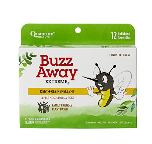 Quantum Health Buzz Away Extreme Towelettes - DEET-free Insect Repellent Wipes, Essential Oils - Pop Up Dispenser, Small Children and Up, 12 Count (Pack of 4) (Quantum Natural Insect Repellents)