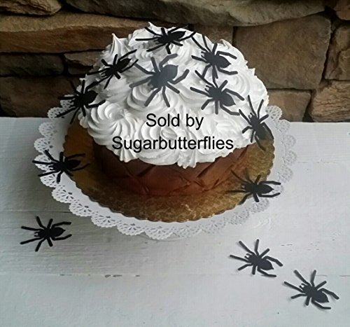 Edible Halloween Xl Black Tarantula Spider Cupcake Toppers Set of 20