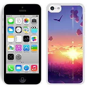 Fashionable Custom Designed iPhone 5C Phone Case With Sunrise City Morning Birds Illustration_White Phone Case