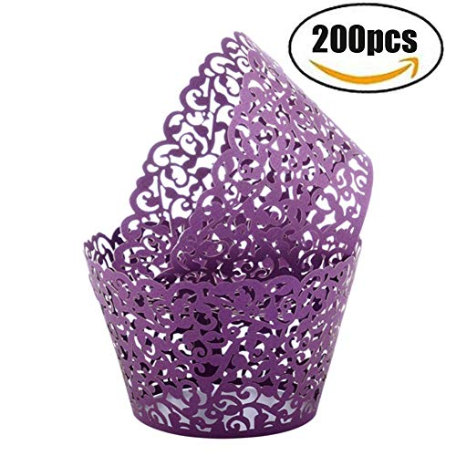 Seamersey 200pcs Cupcake Wrappers Filigree Artistic Bake Cake Paper Cups Little Vine Lace Laser Cut Liner Baking Cup Muffin Holders Case Trays for Wedding Party Birthday Decoration(Purple)