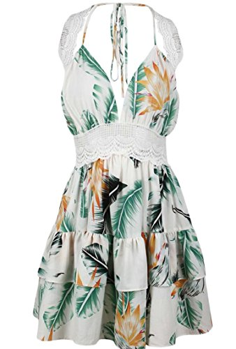 Beach Mini Dresses Floral Neck Summer Halter V Print Jaycargogo Women White nqgCPWwp