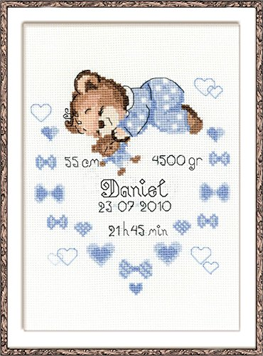Boys Birth Announcement Counted Cross Stitch Kit-7.125x9.5 14 Count