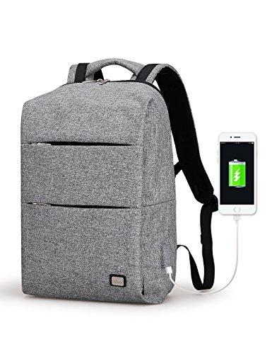 Marca Ryden Business resistente al agua poliéster mochila para portátil con USB puerto de carga y bloqueo para portátil y NOTEBOOK de 17pulgadas bajo gris 17 inch gris