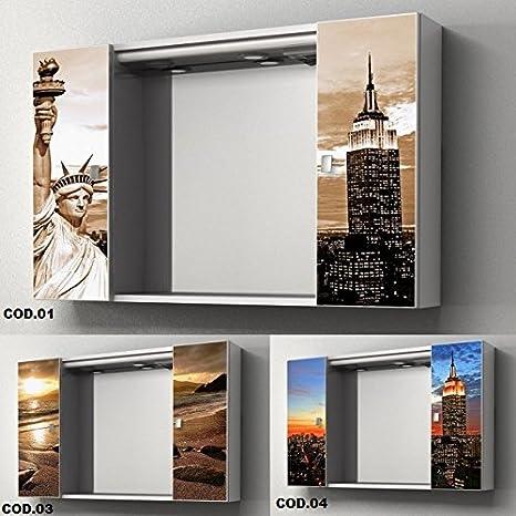 Specchio Bagno Con Faretti.Specchiera Specchio Contenitore Da Bagno 94x60x17 Cm Ante Con Stampa Vetro Centrale Con Faretti Alogeni