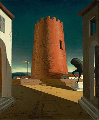 The High Quality Polyster Canvas Of Oil Painting 'Giorgio De Chirico,Rose Tower,1913' ,size: 24x29 Inch / 61x74 Cm ,this High Definition Art Decorative Prints On Canvas Is Fit For Powder Room Decor And Home Decor And Gifts (Mascara Blanca Halloween)