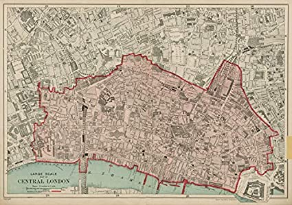 London Atlas Map.Amazon Com The City Of London The Square Mile Bacon 1919 Old