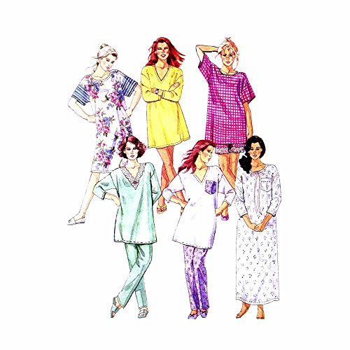 1990s Misses Nightshirt and Pajamas McCalls 6256 Sewing Pattern Size 14 - 16