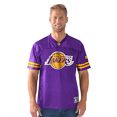 STARTER NBA Los Angeles Lakers Men's Heritage Football Jersey, X-Large, (Purple Mens Football Jersey)